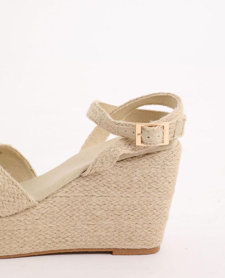 Sandales compensées en corde beige