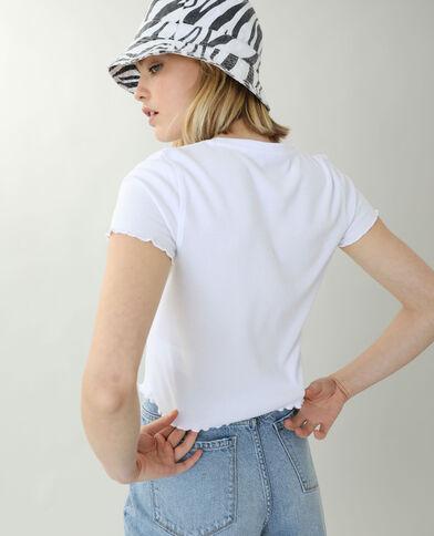 T-shirtcôtelé et volanté blanc