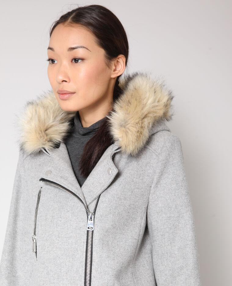 Manteau drap de laine gris chiné