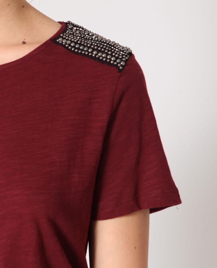 T-shirt à perles bordeaux
