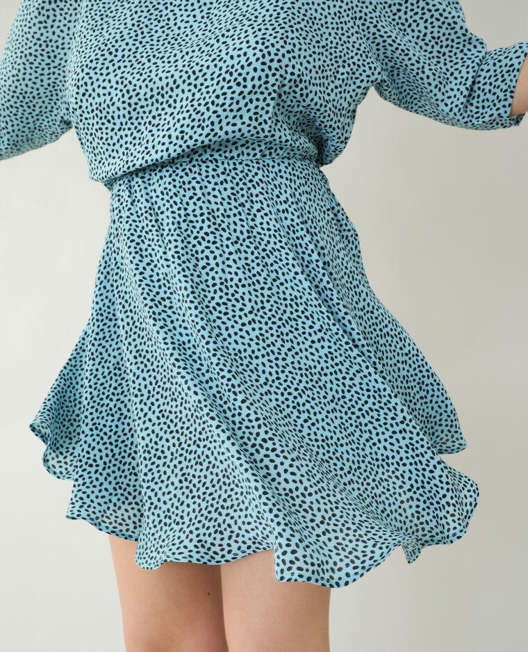 Robe trapèze à pois bleu - Pimkie