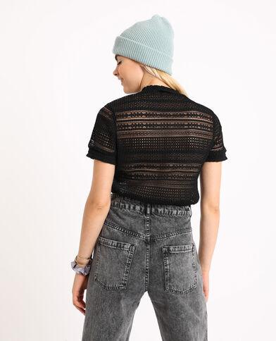 T-shirt ajouré noir - Pimkie