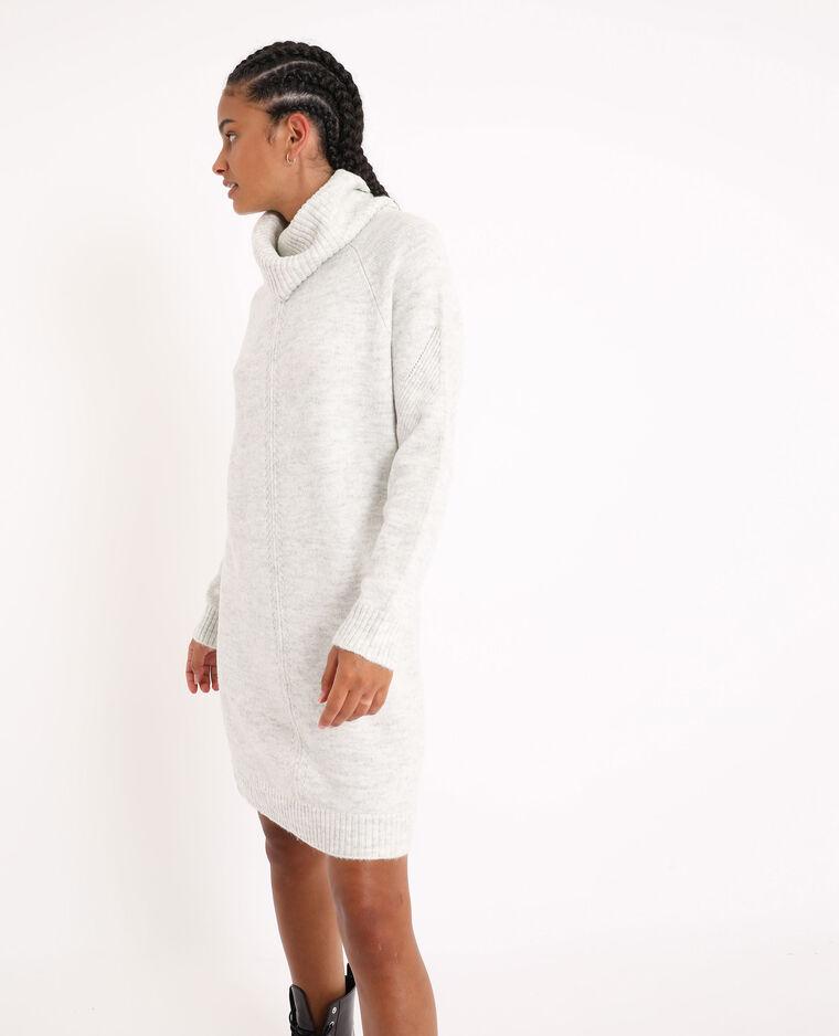 Robe pull à col roulé gris perle