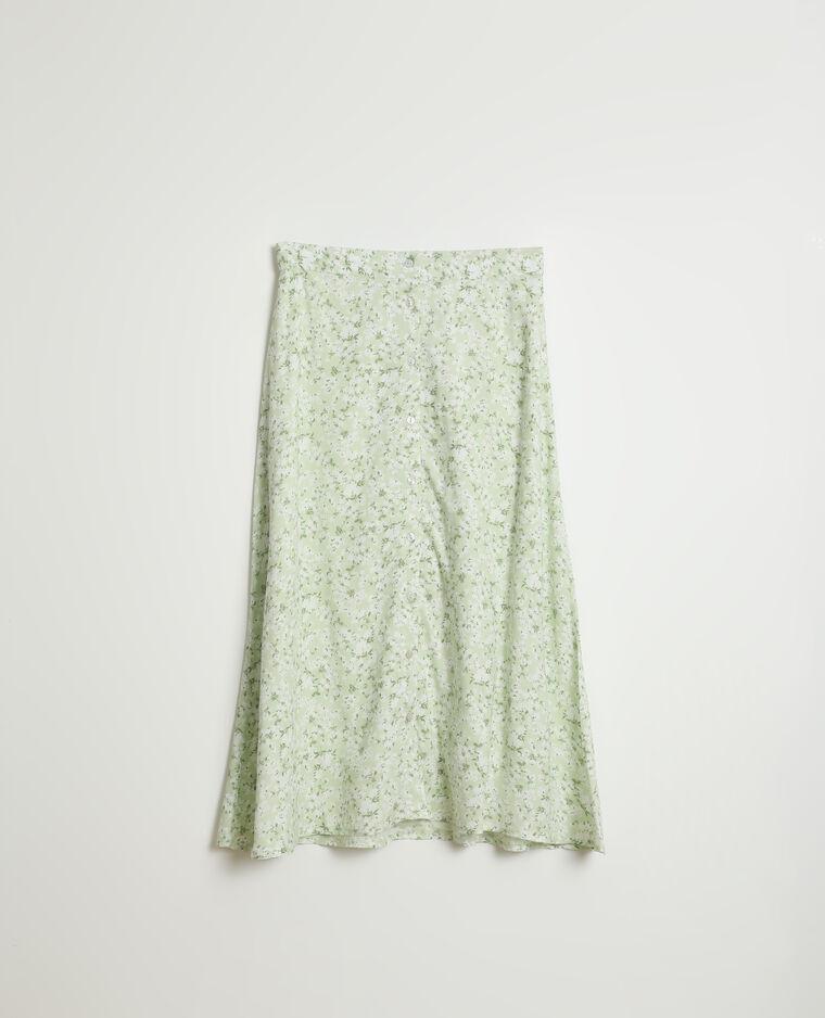 Jupe midi boutonnée et fleurie vert - Pimkie