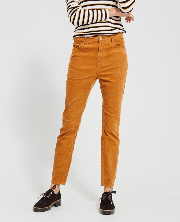 Pantalon skinny velours camel