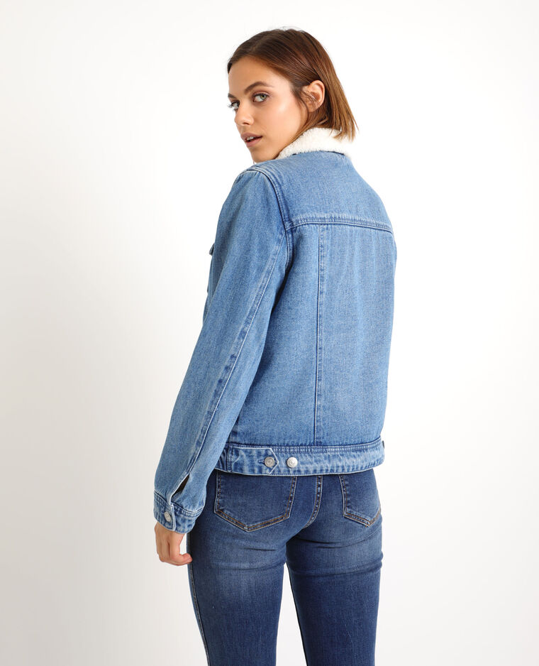 Veste en jean doublée bleu denim