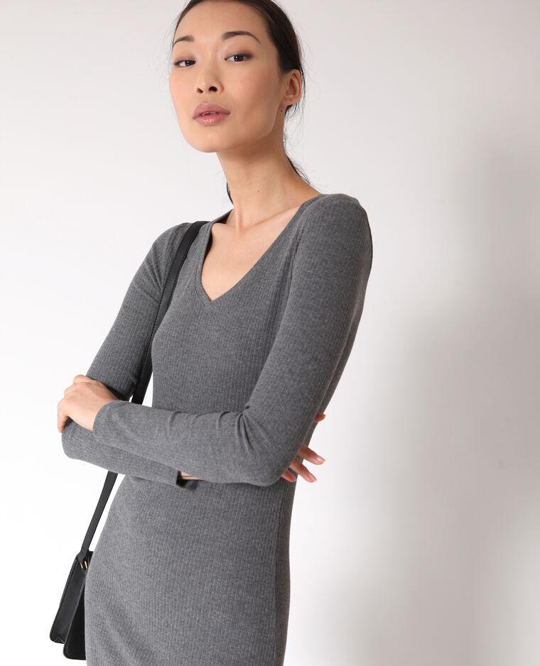 Robe moulante gris chiné