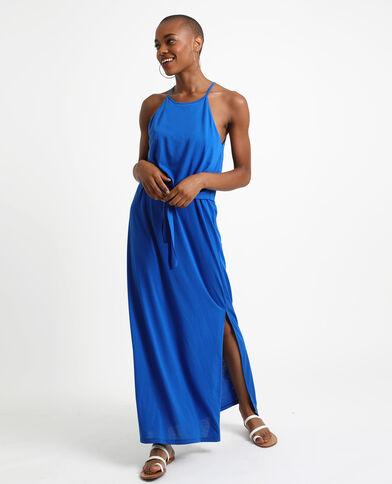 Robe longue nouée bleu