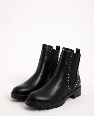 Bottines plates faux cuir noir