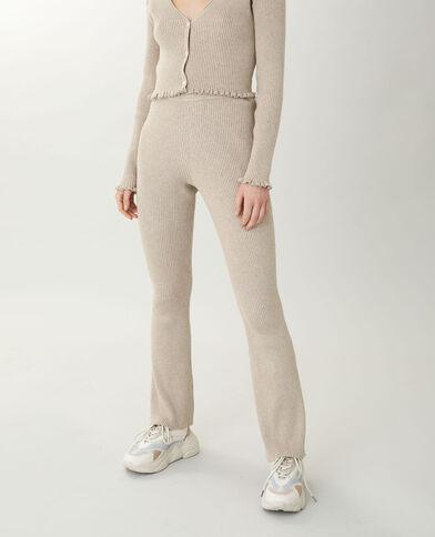 Pantalon flare en maille beige taupe - Pimkie