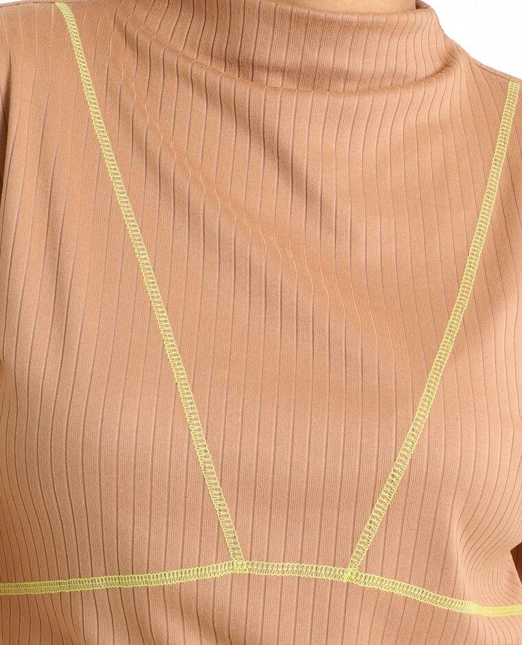 Robe bicolore caramel