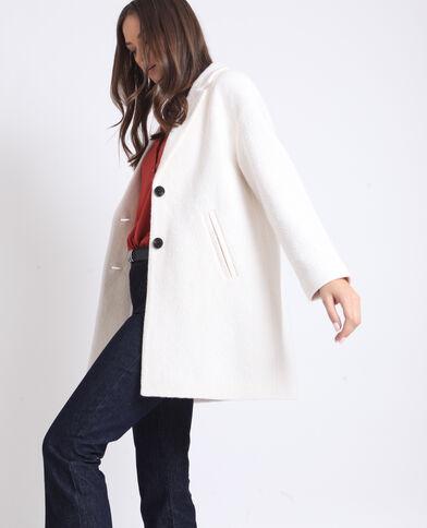 Manteau droit en laine blanc cassé - Pimkie