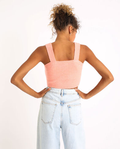 Cropped top en maille pêche