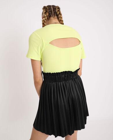 Cropped top à manches courtes jaune