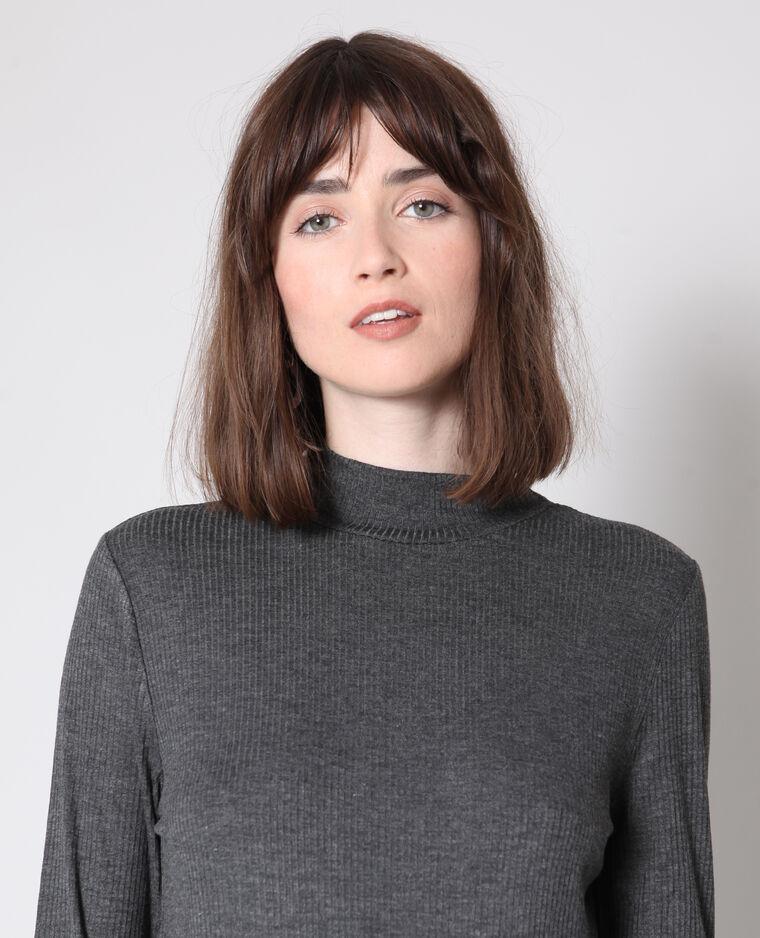 T-shirt à col montant gris