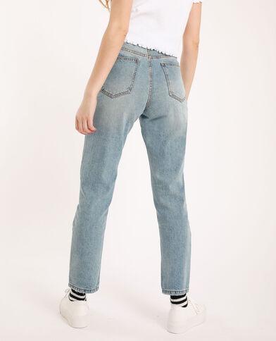 Jean mom high waist bleu délavé