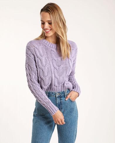 Pull à torsades lilas