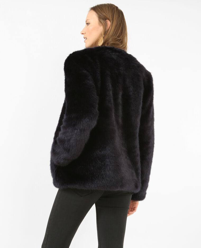 veste fourrure bleu femme