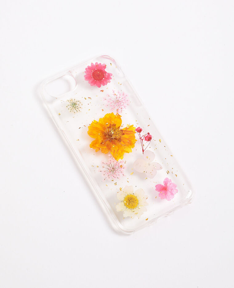 Coque à fleurs compatible iPhone blanc