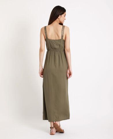 Robe longue à décolleté vert