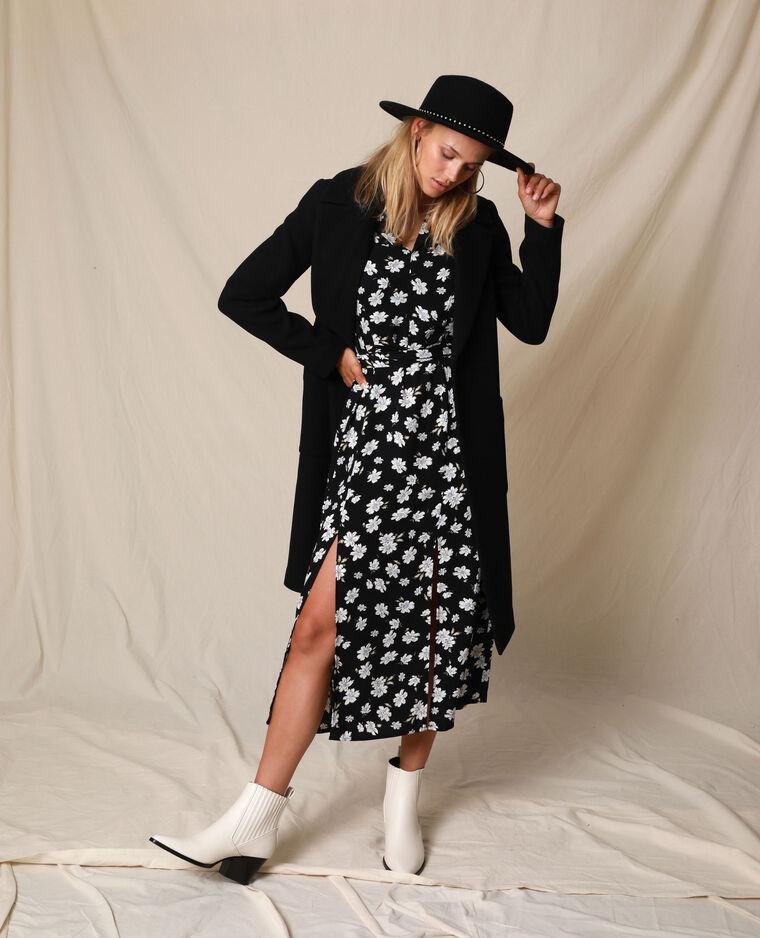 Robe longue fleurie noir