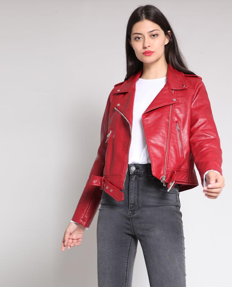 Veste perfecto faux cuir rouge