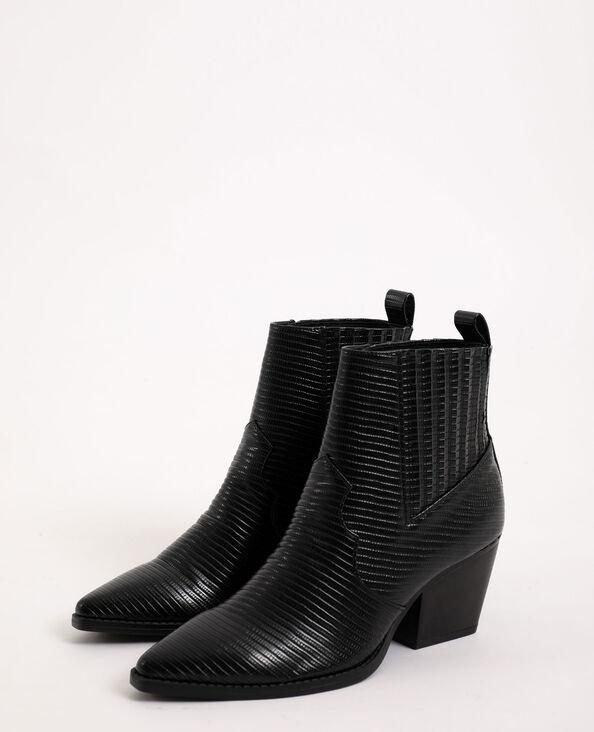 Boots western en simili cuir noir