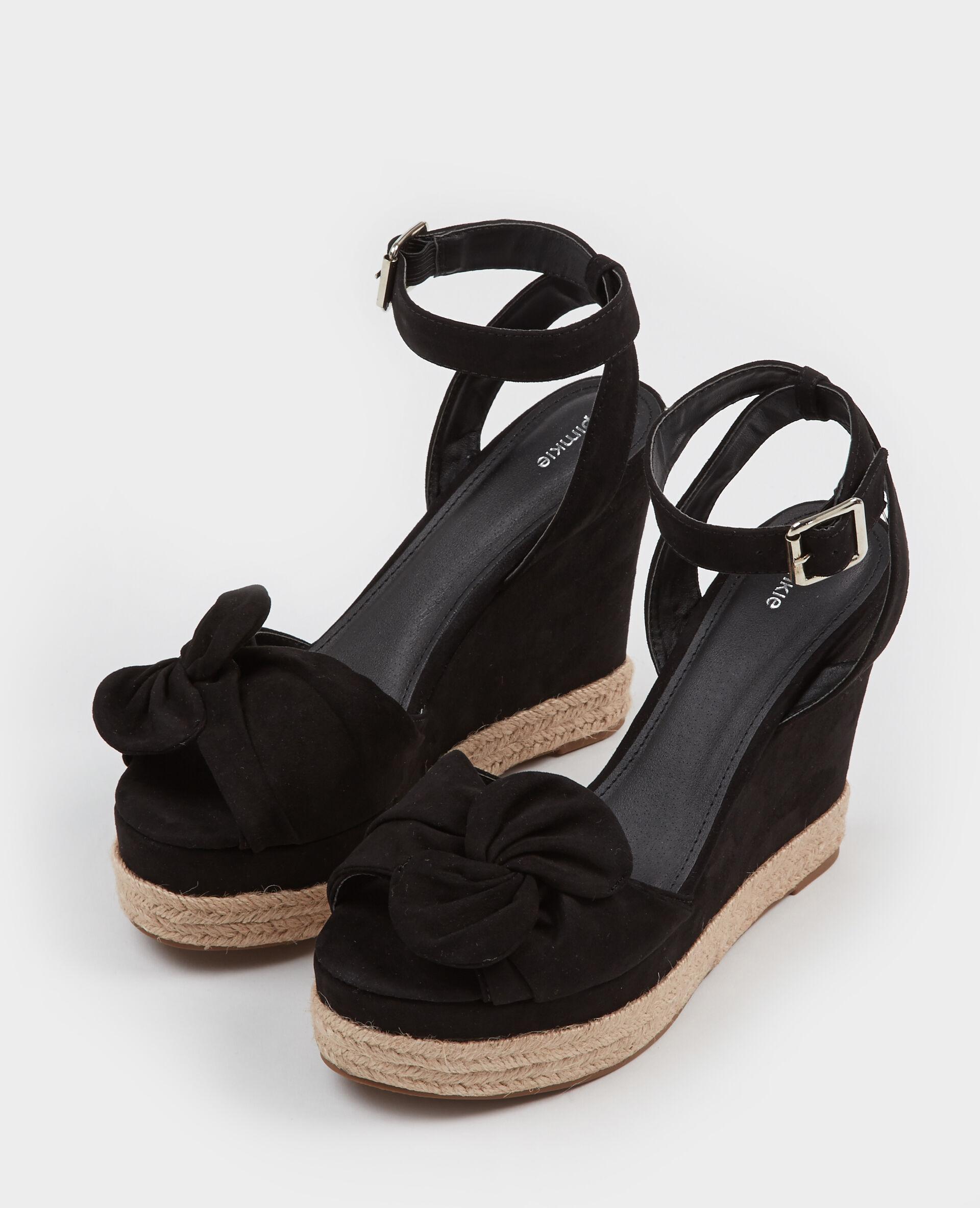 Sandales compensées à nœud noir 904936899A08 | Pimkie