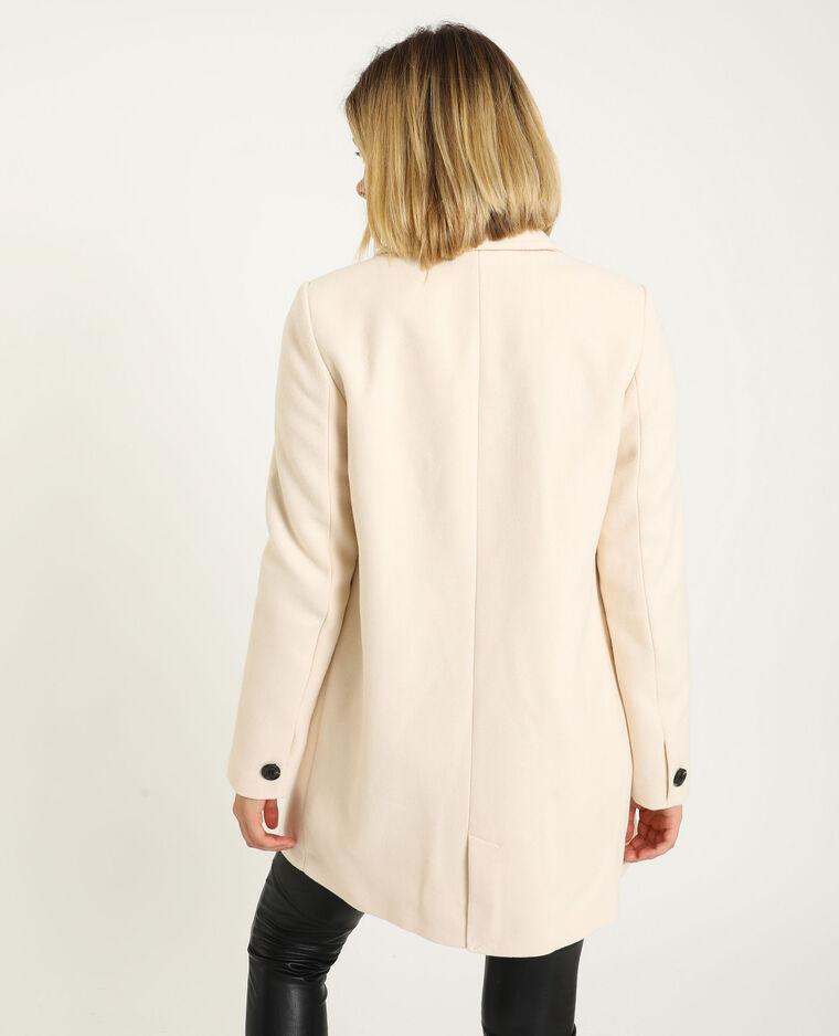 Manteau droit drap de laine beige