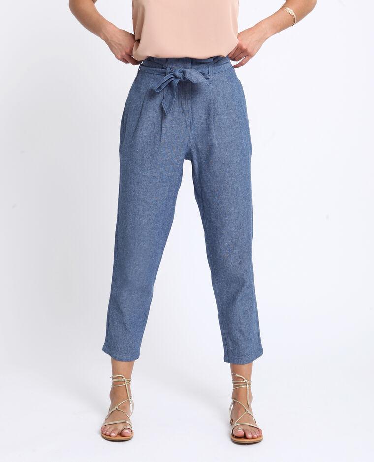 Pantalon carotte bleu brut