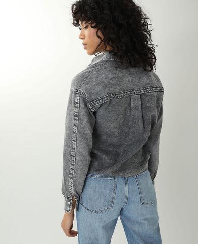 Chemise en jean effet délavé gris - Pimkie