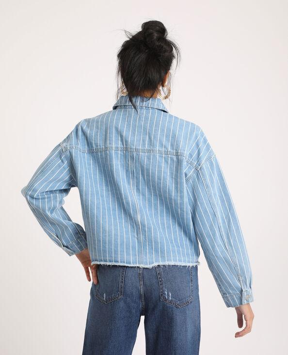 Veste en jean rayée bleu clair