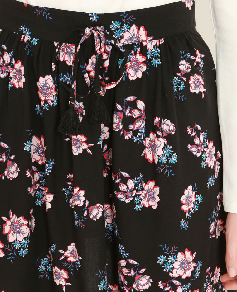 Mini jupe fleurie noir