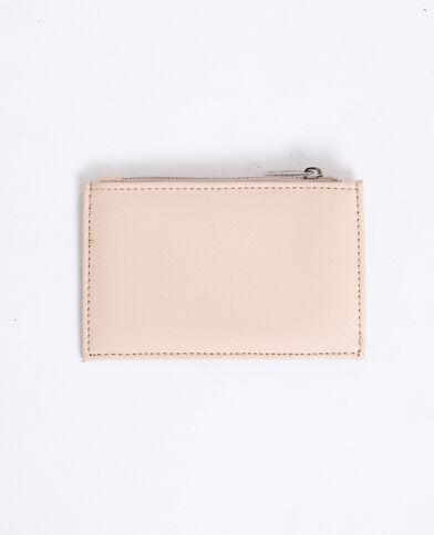 Porte-cartes en faux cuir rose