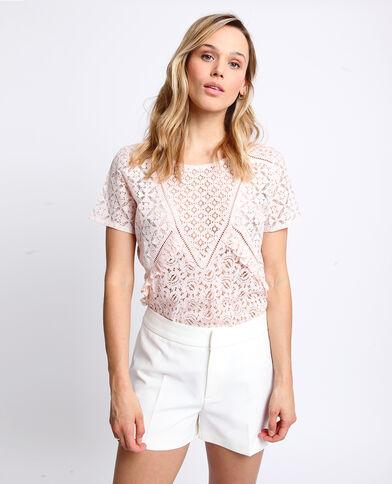 73578fa5367 T-shirt en dentelle rose pâle