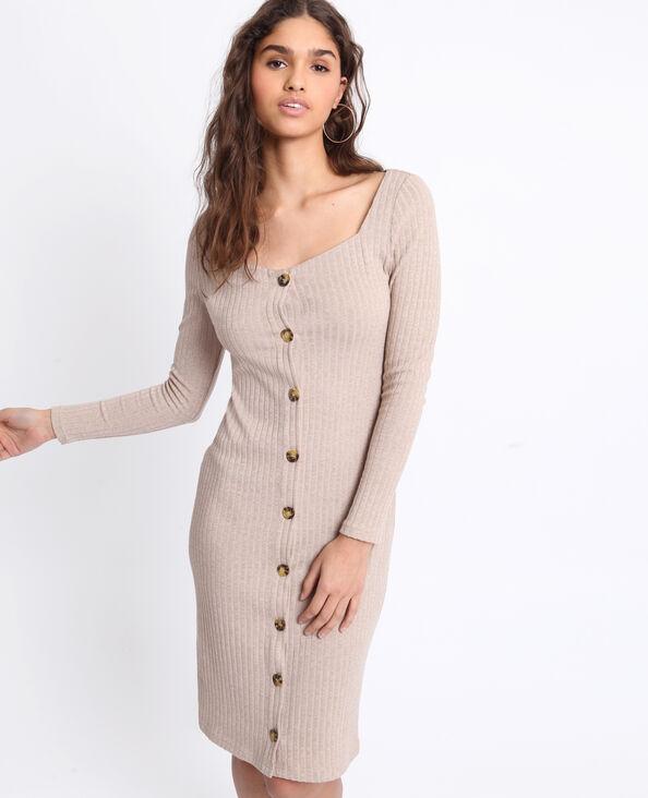 Robe longue cotelée brun