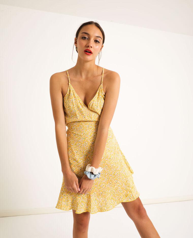 Robe portefeuille à fleurs jaune