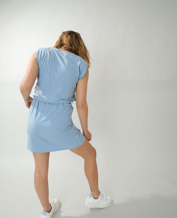 Robe droite à épaulettes bleu