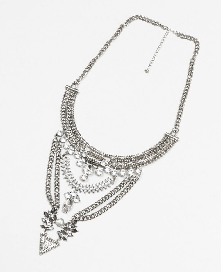 Collier plastron métal et strass gris argenté