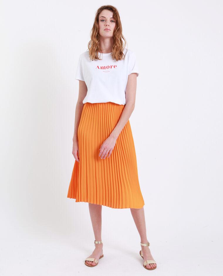 Jupe plissée orange fluo