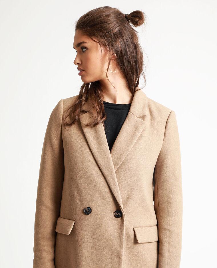 Manteau drap de laine caramel