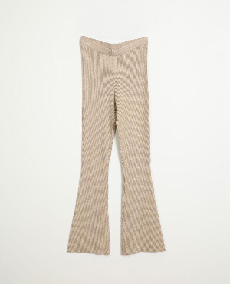 Pantalon flare en maille beige taupe