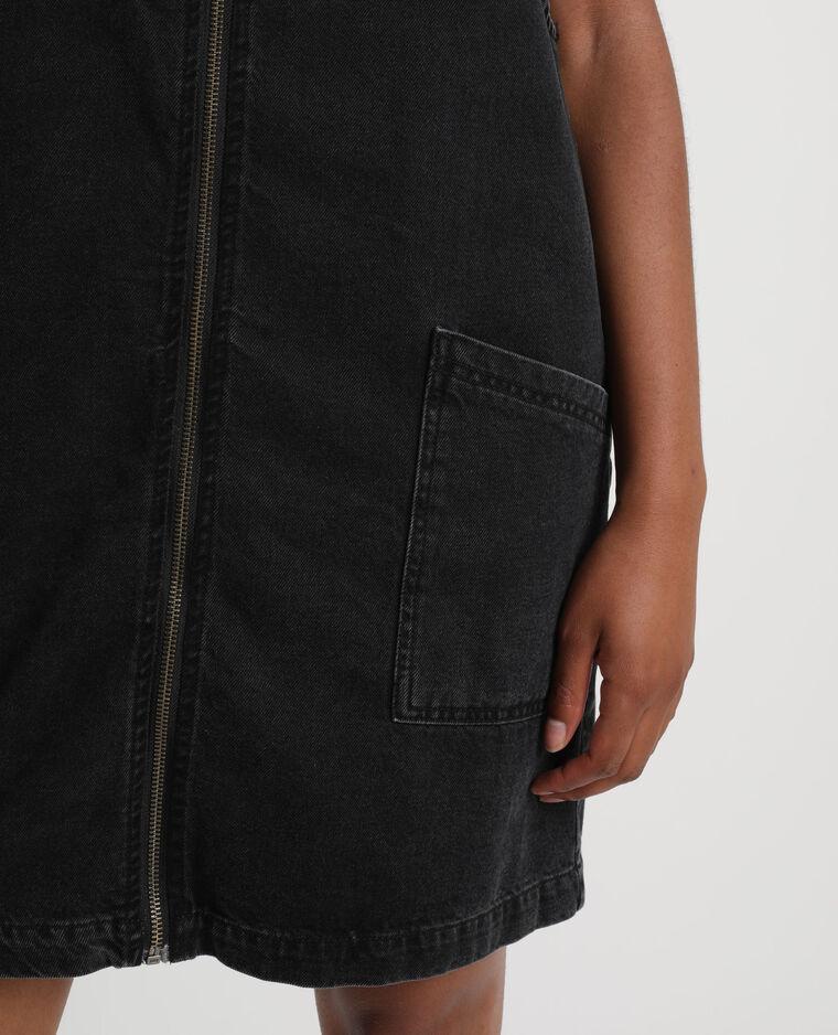 Robe chasuble en jean noir