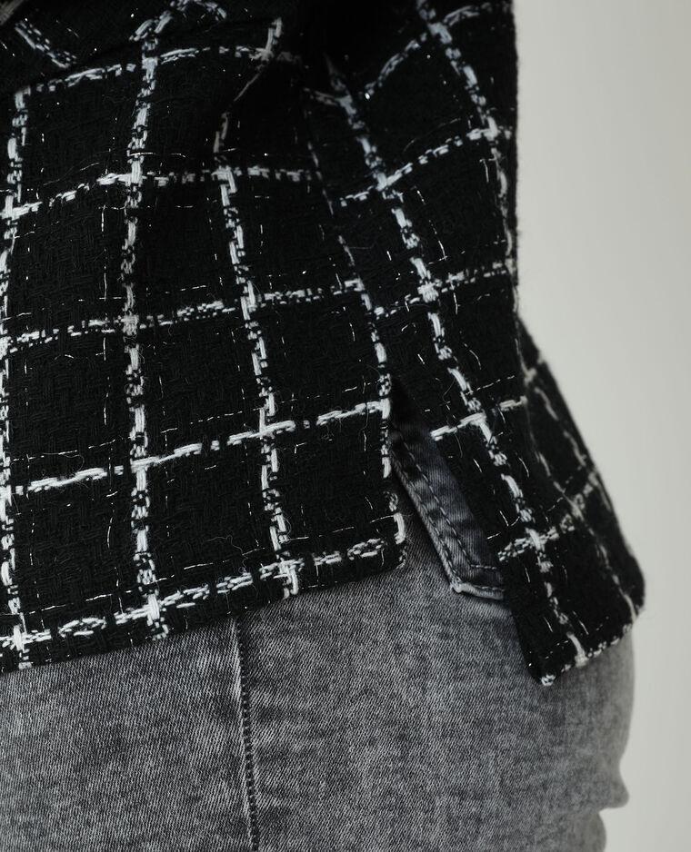 Surchemise tweed à carreaux noir - Pimkie