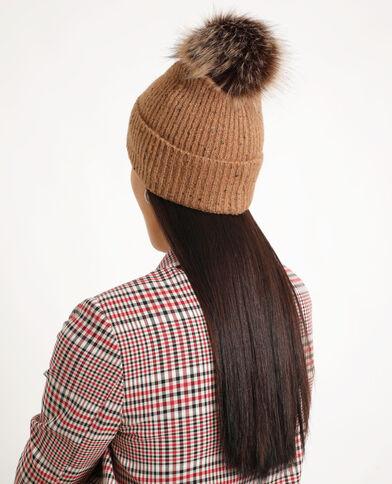 Bonnet à pompon marron