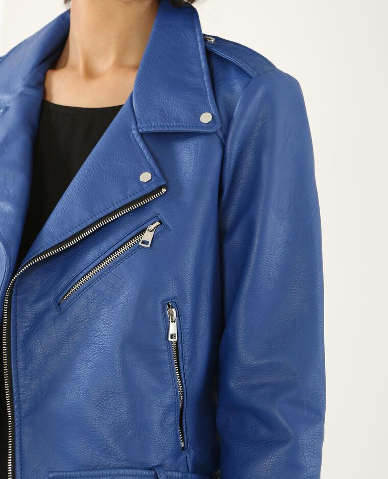 blouson imitation cuir femme bleu électrique