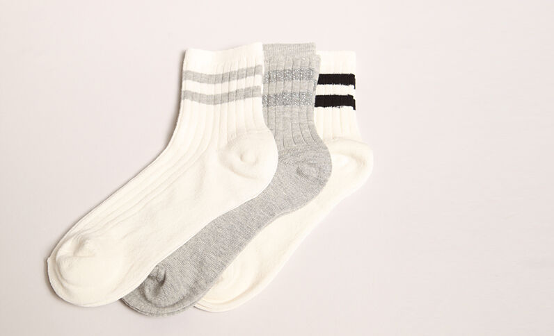 Lot de chaussettes rayées blanc