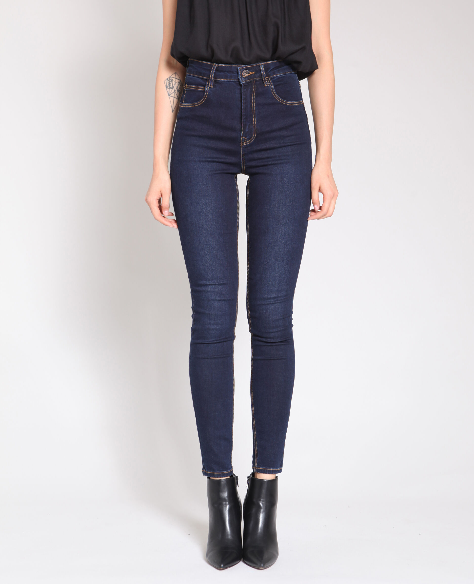 Jean femme coupe large taille haute
