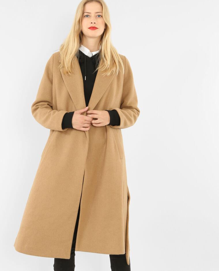d5776a787dfa0 Long manteau drap de laine caramel - 280136721A07 | Pimkie