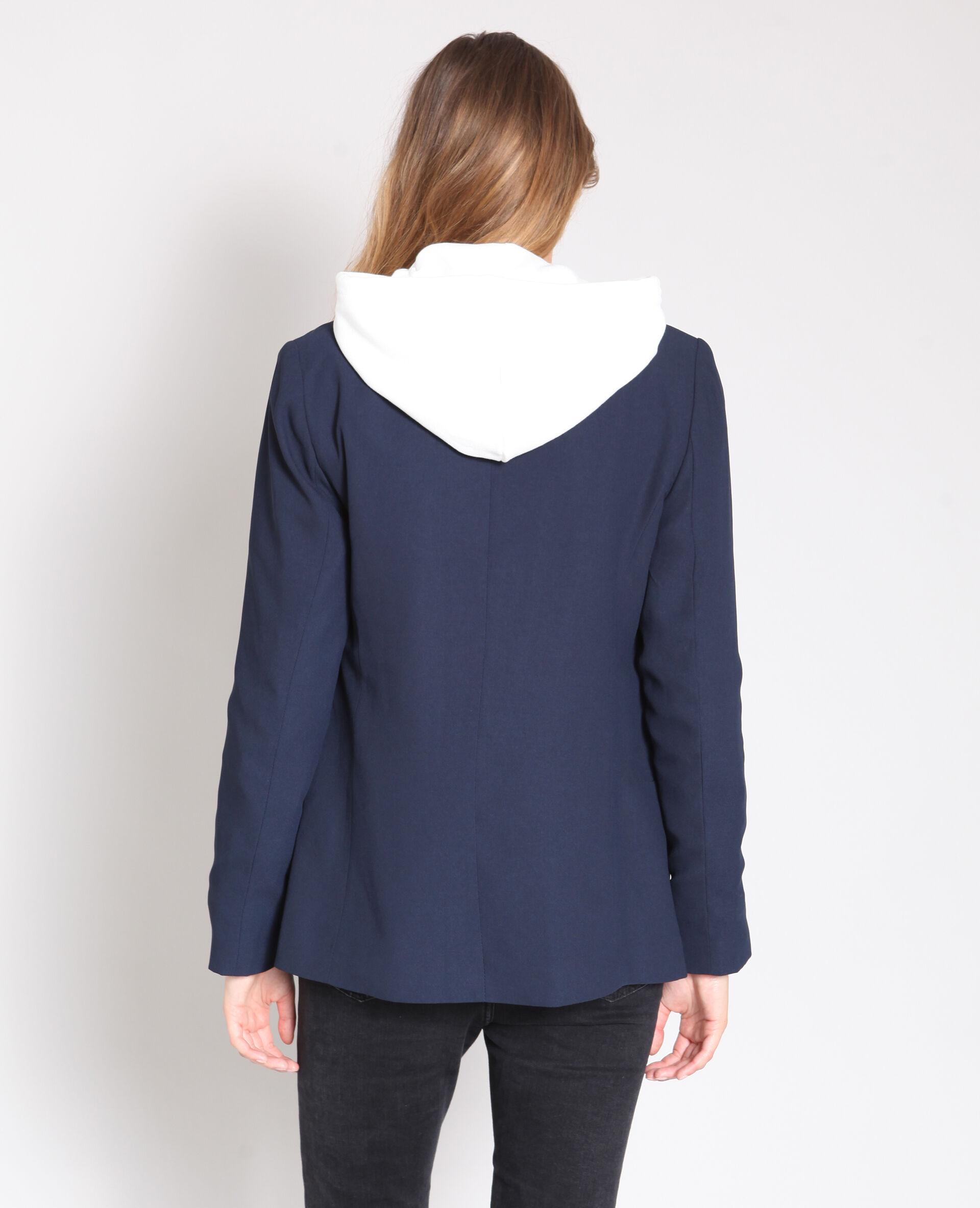 Veste tailleur longue femme bleu marine